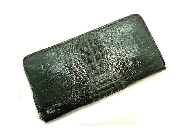 【未使用品】背ワニ(ワニの背中)革のラウンドファスナー長財布 ブラック【新品】