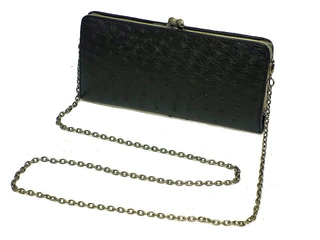 【新品】オーストリッチのがま口財布ショルダーチェーン付き ブラック(黒色)