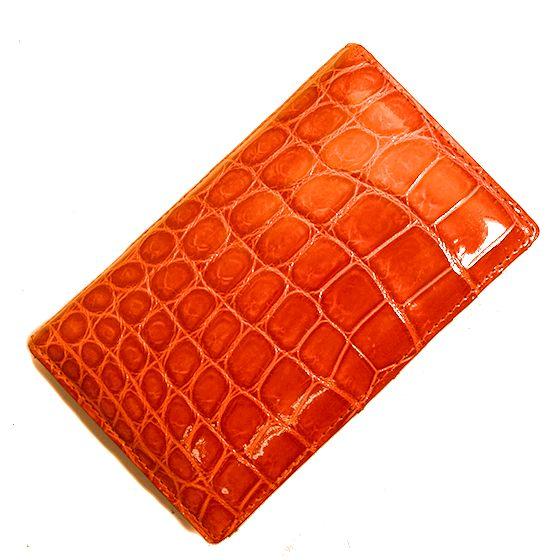 【新品】HENG LONG☆ヘンローンクロコダイル カードケース ORENGE(オレンジ) 濃オレンジ色