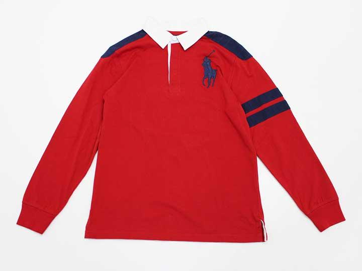 新品 未使用品〓ラルフローレン Ralph Lauren〓160cm 長袖ラガーシャツ ポロシャツ 赤 数量限定 ジュニア 子供服 買収 kids キッズ 70901202 男の子 春秋