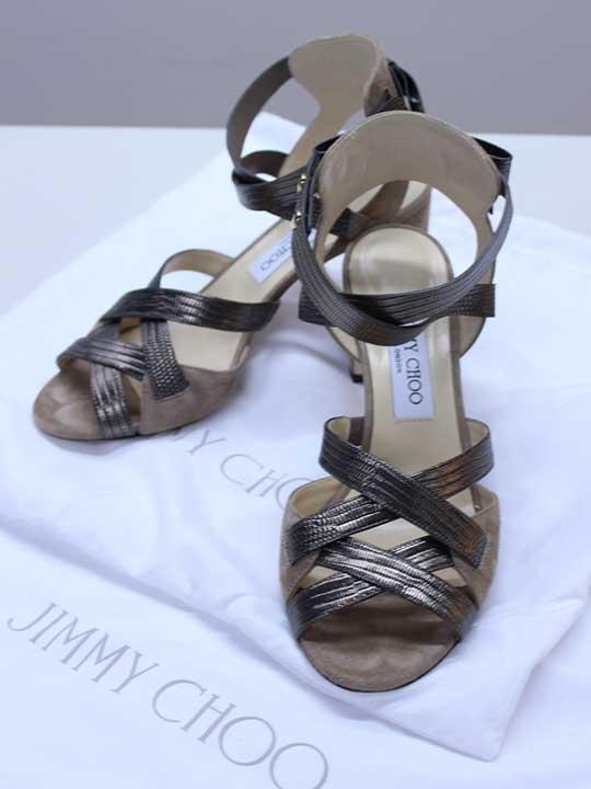 ●JIMMY CHOO/ジミーチュウ●ストラップリボンシューズ/靴 ゴールド×グレージュ レディース 38/25cm位【中古 古着 USED】 夏