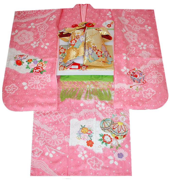 七五三 着物 7歳 女の子 正絹 着物フルセット 手絞り&刺繍 マリに牡丹と桜柄 ピンク 四つ身セット 着付けに必要な物は全て揃った着付け完璧フルセット 肩上げ無料