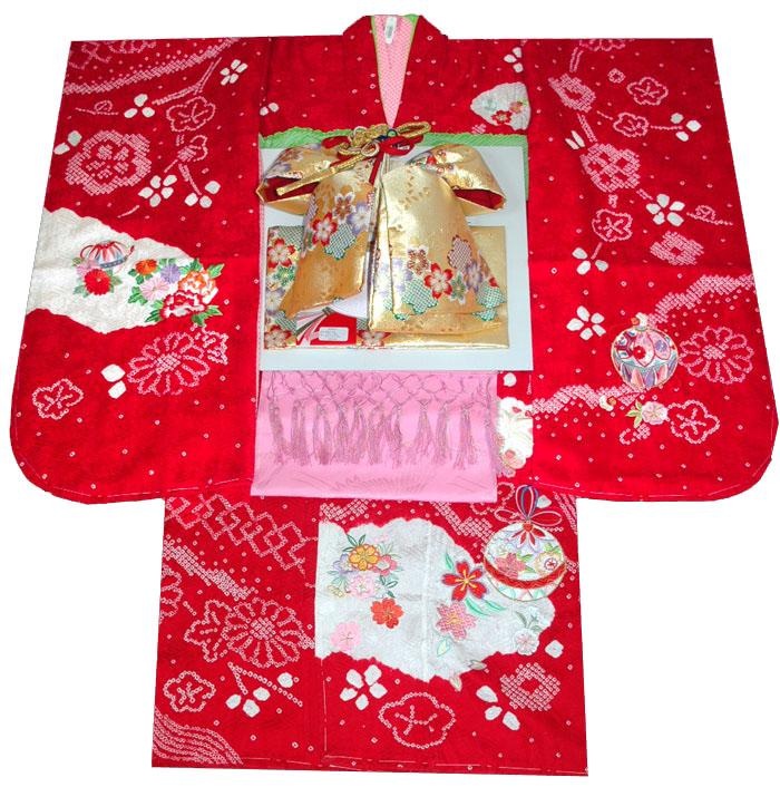 七五三 着物 7歳 女の子 正絹 着物フルセット 手絞り&刺繍 鈴に桜柄 赤 四つ身セット 着付けに必要な物は全て揃った着付け完璧フルセット 肩上げ無料販売 購入