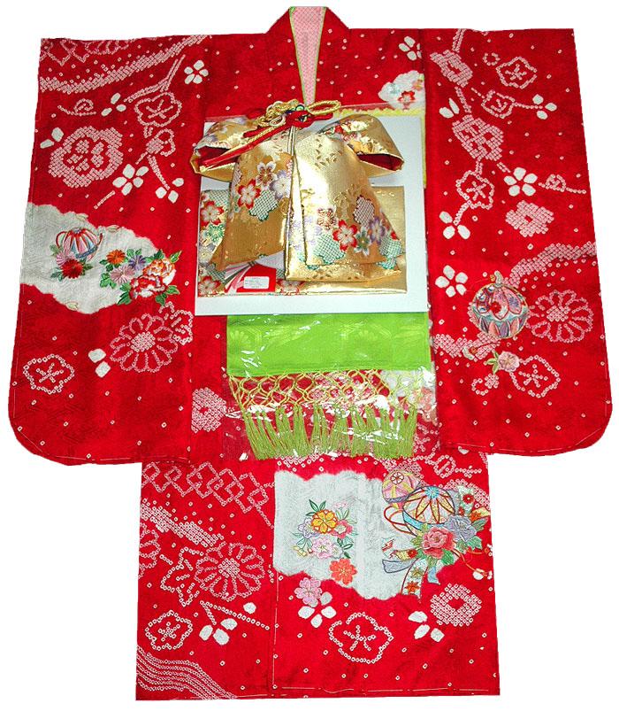 七五三 着物 7歳 女の子 正絹 着物フルセット 手絞り&刺繍 鈴柄 赤 四つ身セット 着付けに必要な物は全て揃った着付け完璧フルセット 肩上げ無料