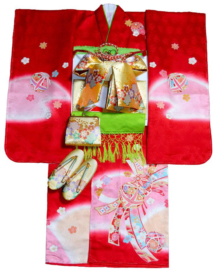 七五三 着物 7歳 女の子 正絹 着物フルセット 手描き友禅染 熨斗にマリ柄 赤 日本製 四つ身セット 着付けに必要な物は全て揃った着付け完璧フルセット 肩上げ無料