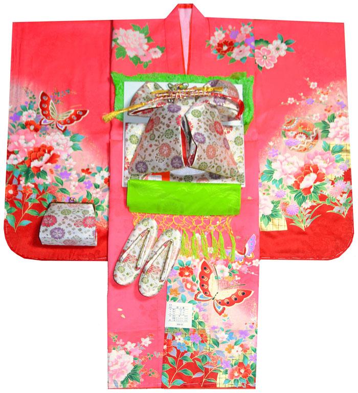 七五三 着物 7歳 女の子 正絹 着物フルセット 蝶柄 ピンク(若干赤み掛かったピンク) 四つ身セット 着付けに必要な物は全て揃った着付け完璧フルセット 肩上げ無料販売 購入