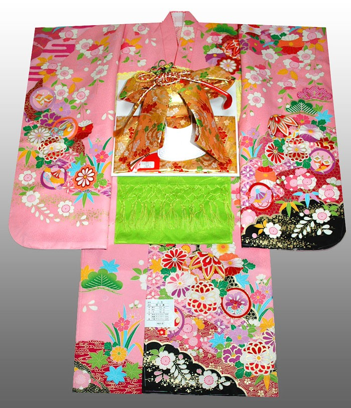 七五三 着物 セット 四つ身 7歳着物フルセット マリに菊柄 ピンク 着付けに必要な物は全て揃った25点着付け完璧フルセット [送料無料][肩上げ無料] 女の子 女児 7才 七歳 七才