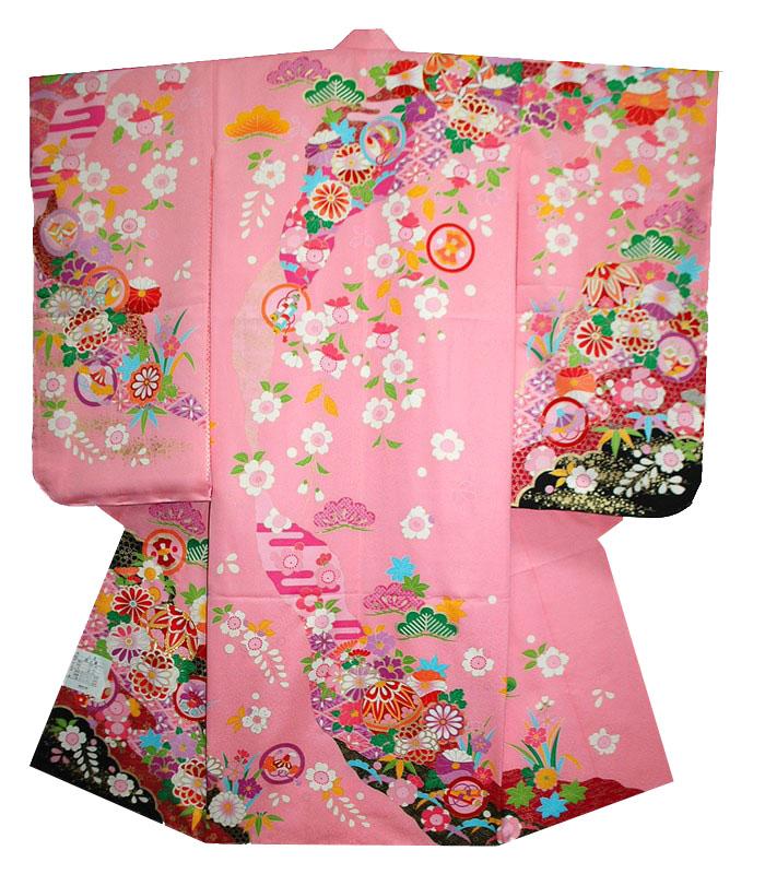 七五三 着物 単品 四つ身 7歳 着物単品 マリに菊柄 ピンク [送料無料]女の子 女児 7才 七歳 七才