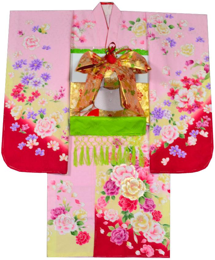 ピンク 女の子 肩上げ無料 七五三 KYOTO 購入 着物 薔薇柄 着物フルセット From ブランド 7歳 着付けマニュアルDVD付き販売 四つ身セット