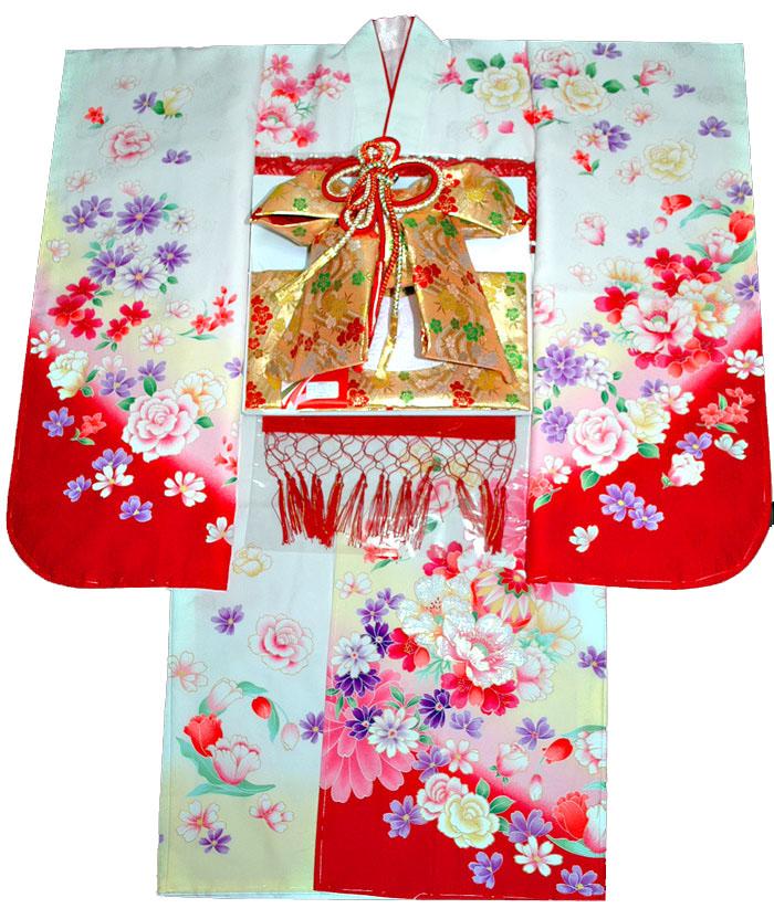 着物フルセット 購入 着付けマニュアルDVD付き販売 ブランド From マリに薔薇柄 女の子 白 四つ身セット 7歳 七五三 肩上げ無料 KYOTO 着物