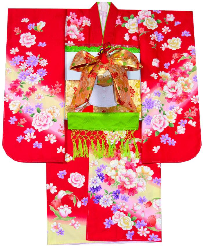七五三 着物 セット 四つ身 ブランドFrom KYOTO フロム京都 7歳着物フルセット 牡丹柄 赤 着付けに必要な物は全て揃った25点着付け完璧フルセット [送料無料][肩上げ無料] 女の子 女児 7才 七歳 七才