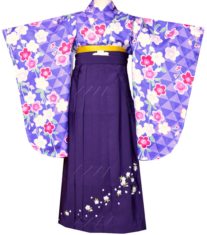 卒業式 袴 袴セット 女 二尺袖着物と袴のセット 桜柄 紫4 小学生 ジュニア販売 購入