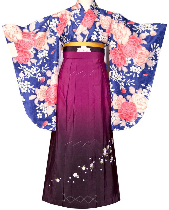卒業式 袴 袴セット 女 二尺袖着物と袴の5点セット 紺2 小学生 ジュニア用にも完全対応販売 購入