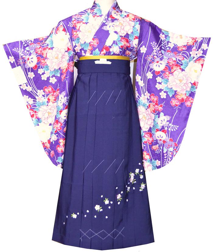 【レンタル 】 卒業式 袴 レンタル 袴セット 女 二尺袖着物と袴のフルセットレンタル 紫 小学生 ジュニア