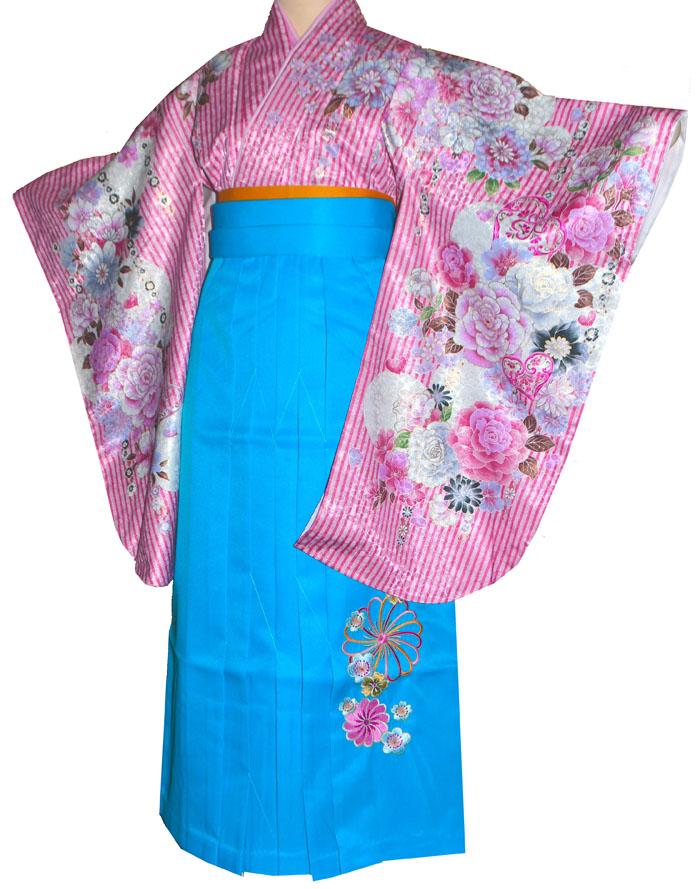 【レンタル 】 卒業式 袴 レンタル 袴セット 女 二尺袖着物と袴のフルセットレンタル ストライプ ピンク 小学生 ジュニア