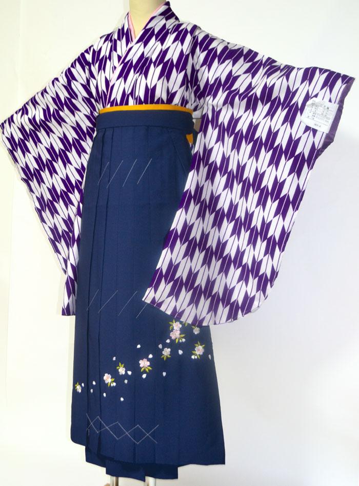 【レンタル 】 卒業式 袴 レンタル 袴セット 女 二尺袖着物と袴のフルセットレンタル 矢絣 紫 小学生 ジュニア