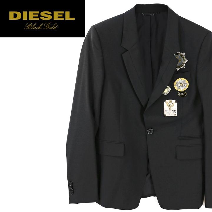 ■DIESEL BLACK GOLD ディーゼル ブラックゴールド メンズ■メタルエンブレム装飾 シングル 1B 1釦 テーラードジャケット【JOSOLE】【サイズ44~48】【ブラック】die-m-o-81-462 《メーカー希望小売価格124,200円》