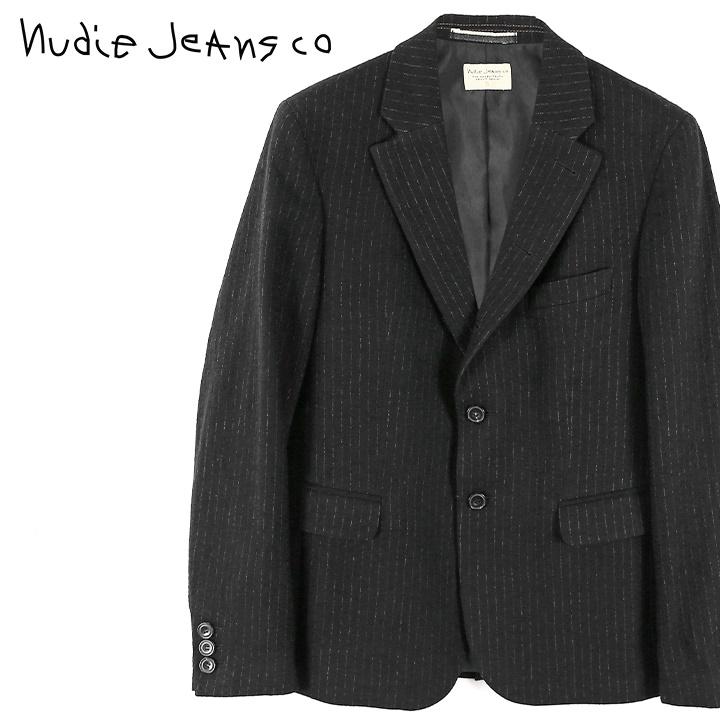 ■Nudie Jeans ヌーディージーンズ メンズ■ストライプ柄 ウール混 テーラードジャケット【WILHELM/JAPANESE WOOL】【サイズXS~L】【ブラック】ndj-m-o-83-696 《メーカー希望小売価格74,800円》