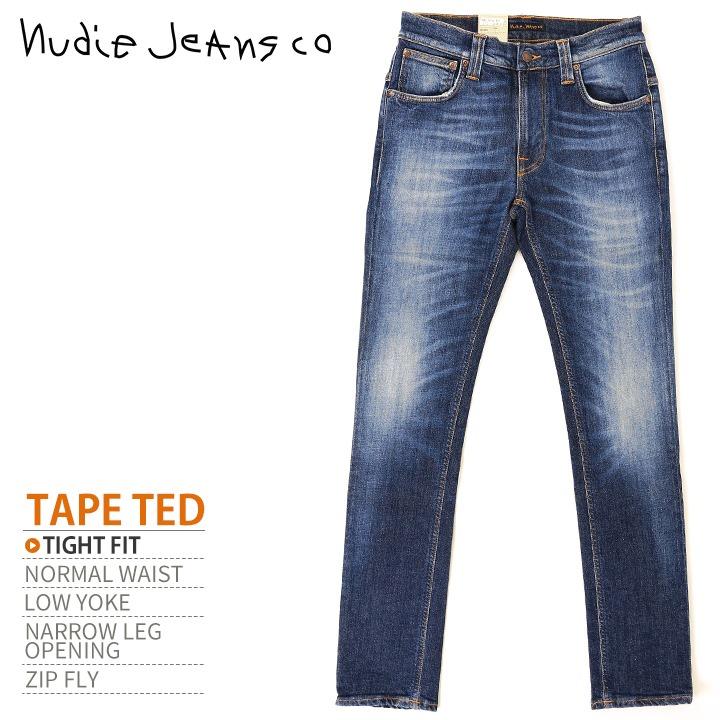 ■Nudie Jeans ヌーディージーンズ メンズ■タイトフィット ストレッチ ジーンズ デニム パンツ【TAPE TED テープテッド LIGHT CAREWORN】【W28~32】【L32】【ミディアムインディゴ】ndj-m-p-83-212 《メーカー希望小売価格28,080円》