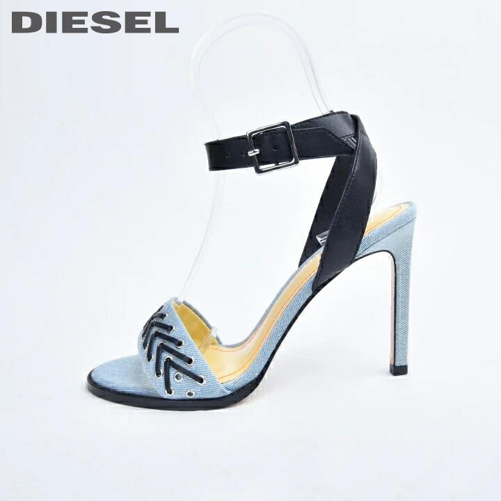スーパーSALE 特別価格 DIESEL ディーゼル レディース レザーアンクルストラップ 春の新作シューズ満載 ウォッシュ加工デニム ピンヒール ハイヒールサンダル マート 《メーカー希望小売価格28 HSW 日本サイズ23.0~25.5 die-l-k-b4-967 600円》 靴 ライトインディゴ シューズ D-FEMME