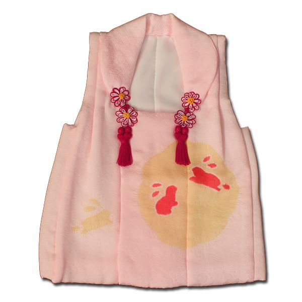 【日本製】七五三に女の子3歳月と兎模様正絹生地絞り被布コート単品子供被布コートピンク色系【宅配便限定】