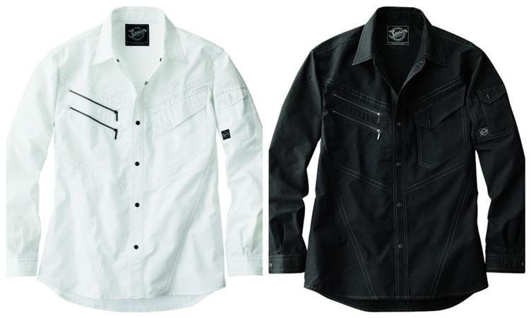 ライダーステイストのデザインが新鮮 作業服 長袖シャツ 作業シャツ 55404 Jawin かっこいい 自重堂 おしゃれ 作業着 賜物 春夏物 往復送料無料 ジャウィン