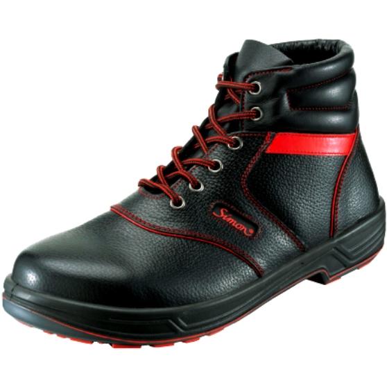 安全靴 Simon シモン 送料無料 シモンライト 中編 SX3層底 SL22-R 黒×赤