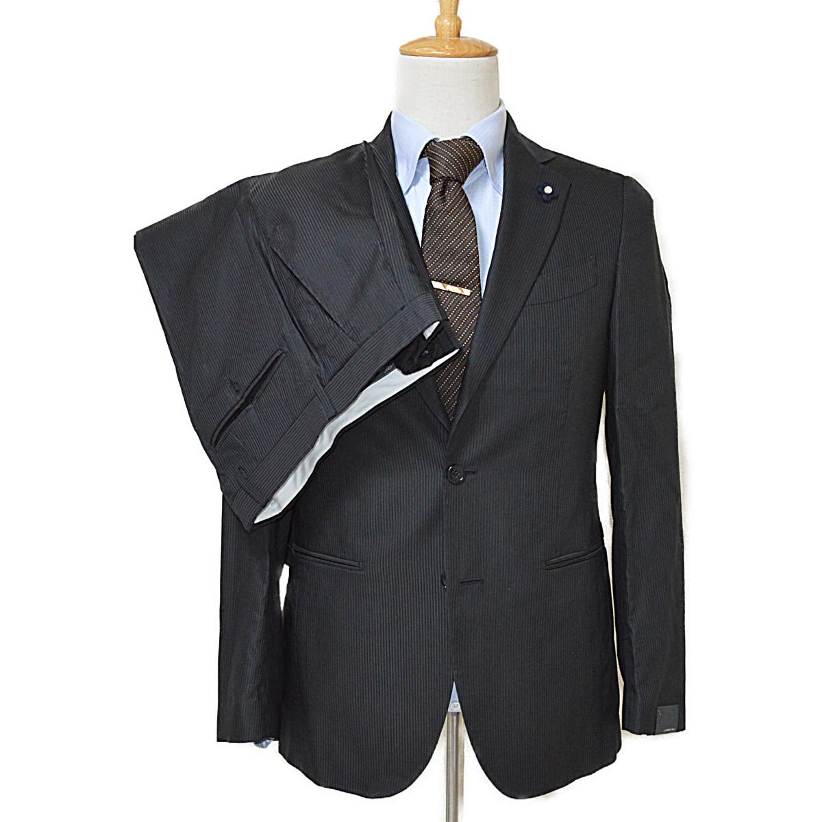 ◆ラルディーニ◆未使用品 ストライプ メンズスーツ ブートニエール付き LARDINI【中古】