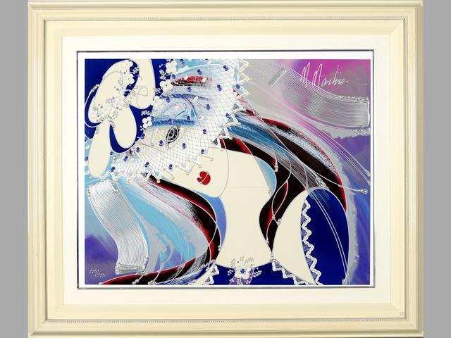 ◆マティーロマヌキアン◆ミックストメディア ED395 版画 ヴェールの美女 税込【中古】