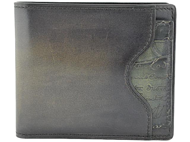 ◆ベルルッティ◆未使用品 2つ折り札入れ マコレ スクリットカリグラフィー カードケース付き 財布 パティーヌ Berluti Makore 2IN1【中古】