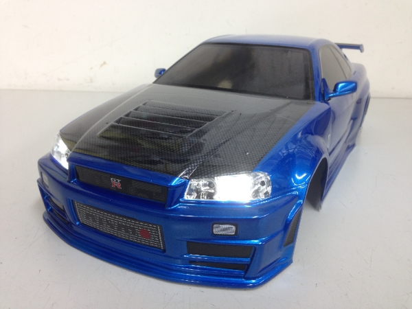 当店オリジナル塗装済みボディ タミヤ 1/10 NISMO R34 GT-R Z-tune ボディ LED付・カーボン調ボンネット