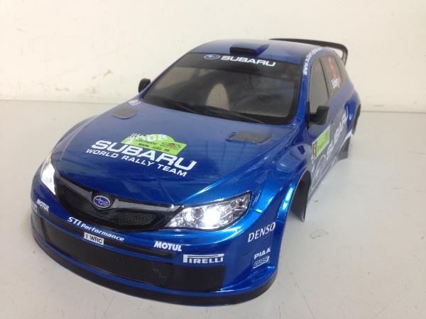 当店オリジナル塗装済みボディ タミヤ 1/10 SUBARU インプレッサ WRC 2008 ボディ LED付