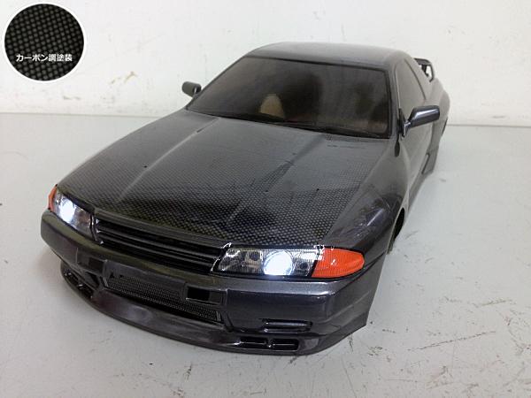 当店オリジナル塗装済みボディ タミヤ 1/10 NISSAN GT-R (R32) カーボン調ボンネット ガンメタ LED付