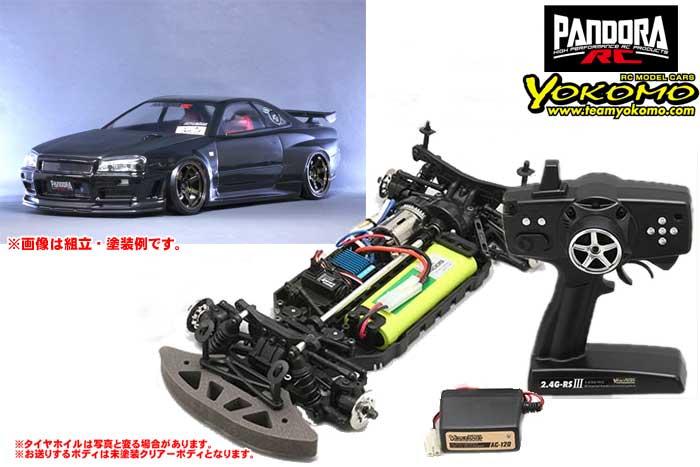 ヨコモ 2.4GHzシステム搭載 組立済ドリフトレーサー+NISSAN スカイラインR34 GT-R V-spec2 PAB-2131