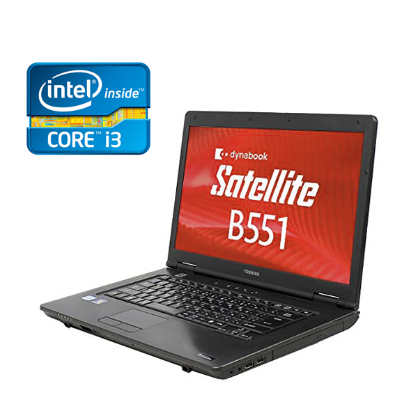 15.6型HD液晶 東芝製 B551 Core i3 2310M-2.1GHz メモリ4GB HDD250GB DVDドライブ 無線LAN付 Windows7 Pro & Windows10 Pro 64bit済【テンキー,eSATA,USB2.0】【中古】