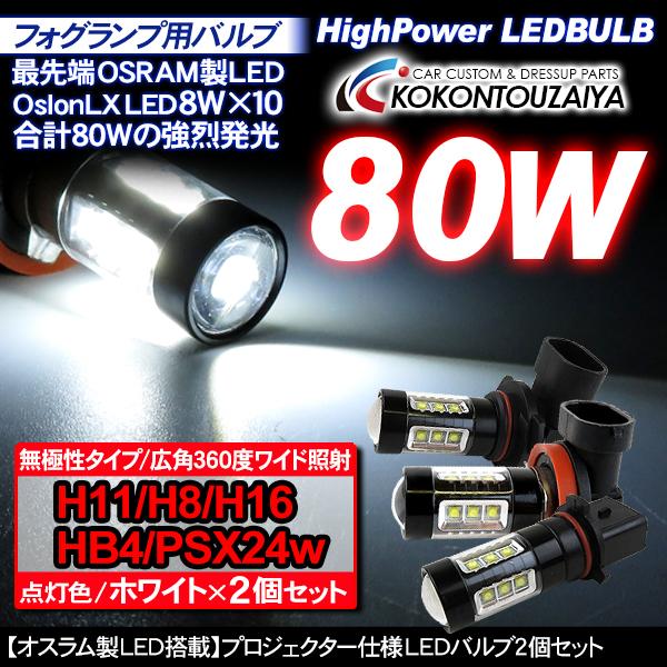 【送料無料】LEDフォグバルブ フォグランプ LEDバルブ H8 H11 H16 HB4 PSX26W 80W 2個セット H8 H11 H16 HB4 PSX26W 80W フォグランプ 交換用 LEDバルブ/プロジェクター仕様 2個セット ブラックボディ