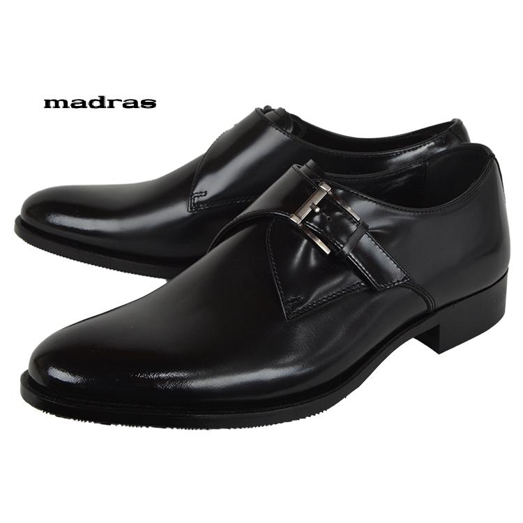 madras[MA184]Blackマドラス モンクストラップ ビジネスシューズ ブラック