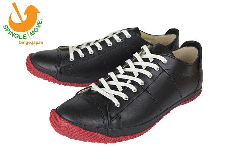 スピングルムーヴ Spingle Move×kobe foot club SPM-063 BLACK 当店別注アイテム! レザースニーカー 大人 おしゃれ 日本製 デート スピングル ムーブ スニーカー