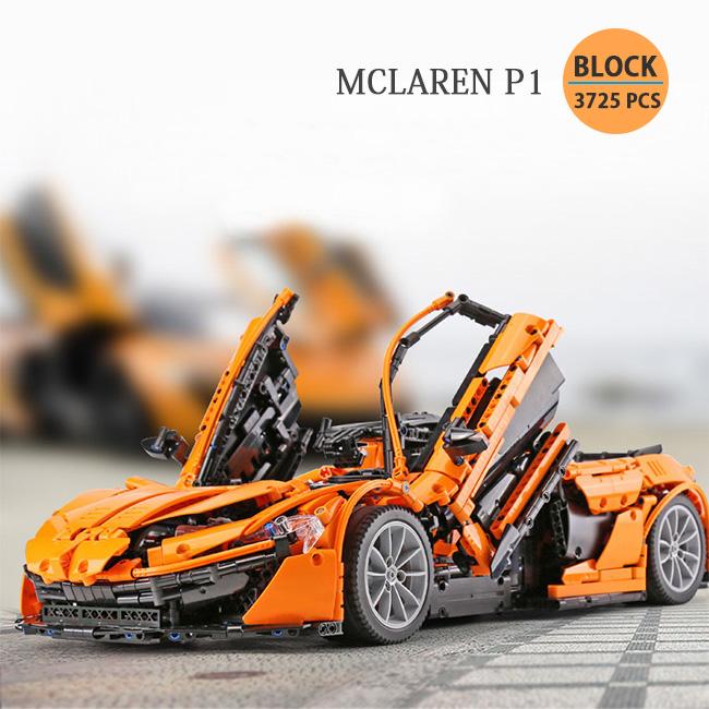 マクラーレン P1 1/8スケール オレンジ Block オモチャ コレクション ブロック DIY 3725ピース※LEGO社の製品ではございません。【送料無料】