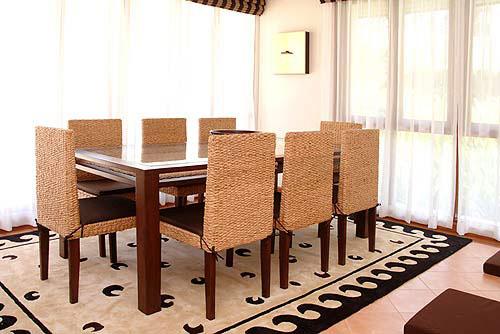 落ち着いた南国リゾートのような癒しの空間を… テーブル + チェア8点セット ♪ 心安らぐアジアンテイスト ♪