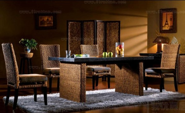 落ち着いた南国リゾートのような癒しの空間を… テーブル & チェア 4脚セット ♪ 心安らぐアジアンテイスト ♪