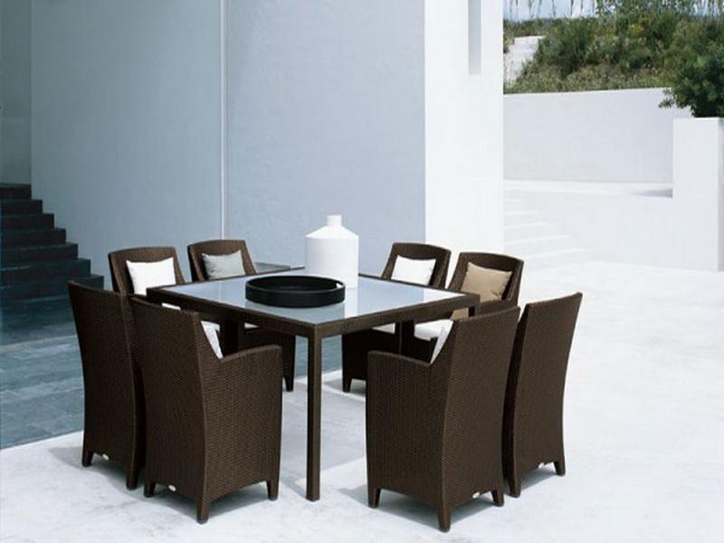 落ち着いた南国リゾートのような癒しの空間を… テーブル & チェア 8脚セット ♪ 心安らぐアジアンテイスト ♪