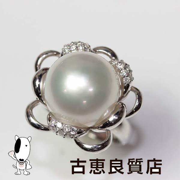 ★PT 指輪 真珠 パール.15mm 0.2ct 15.5g☆【中古】★【MR201】リング サイズ12.5号【値下げ】