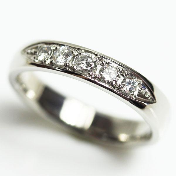 【MR2063】PT プラチナ ダイヤモンドリングファッションリング レディース指輪ハーフエタニティ D0.24ct 6.2g サイズ11.5号【中古】【質屋出品】【あす楽】