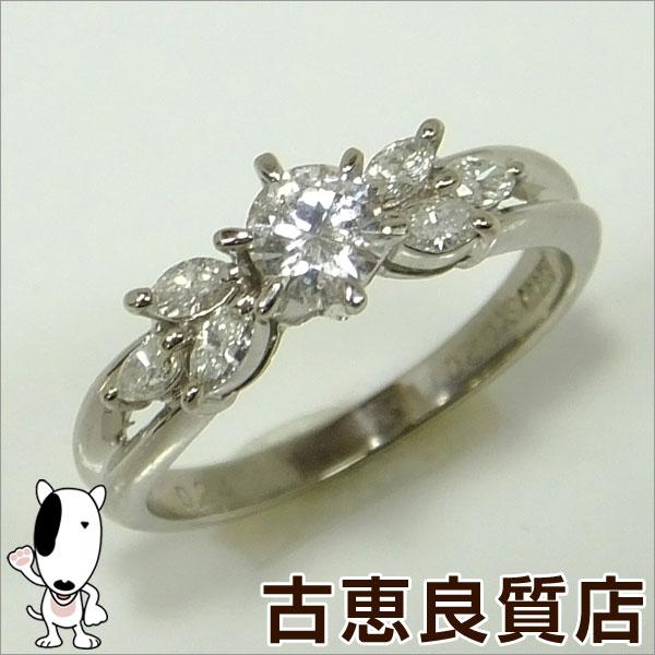 ★【中古】PT900 プラチナ ダイヤモンド デザインリング 指輪 D0.310ct 0.24ct 4.6g サイズ12号★【質屋出品】【あす楽】