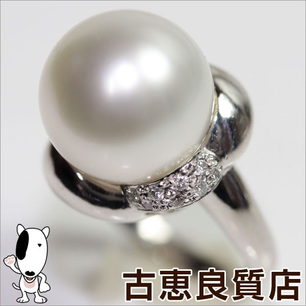 【MR607】【中古】★PTプラチナ指輪 真珠 パール.13mm D.0.13ct 11g☆★リング サイズ11号【質屋出品】【あす楽】