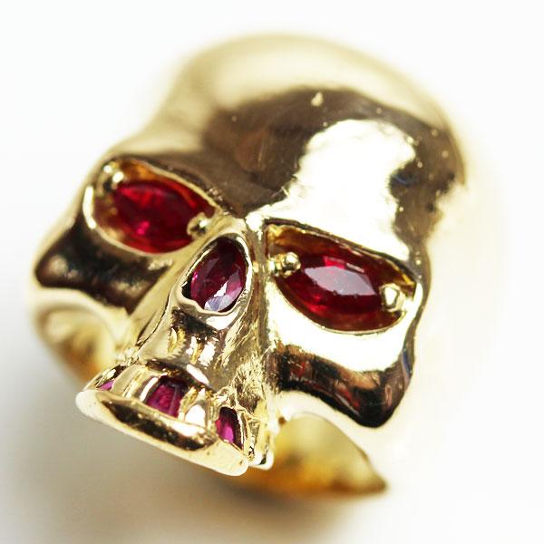 【MR2521】★K18 イエローゴールド スカルリングファッションリング 指輪 R1.10 37.5g サイズ16号髑髏★【中古】【質屋出品】【あす楽】