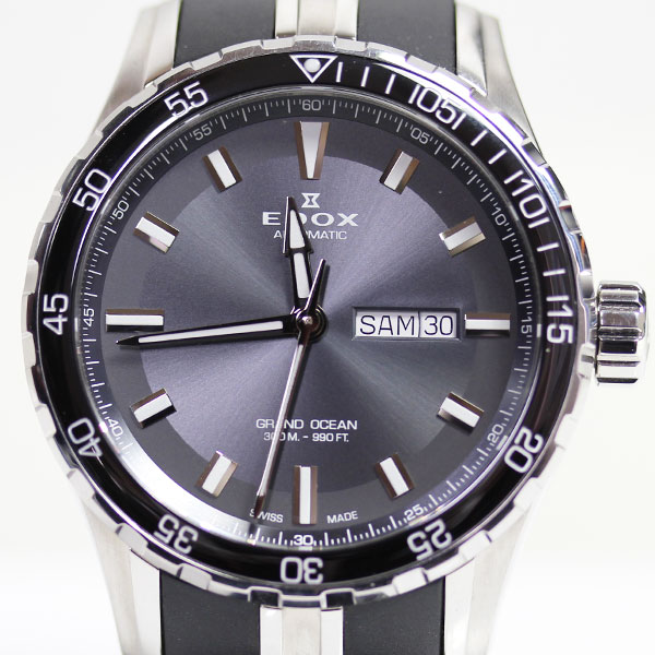 【MT1728】★エドックス EDOX Grand Ocean Date Day グランドオーシャン デイデイト 自動巻き 腕時計 メンズ88002-3CA-NIN★ 【中古】【質屋出品】【あす楽】