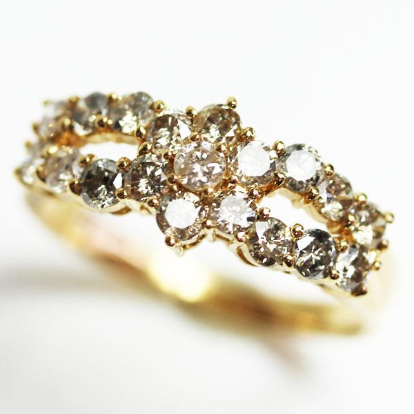 【MR2137】★K18 イエローゴールド ダイヤモンドリングレディース指輪 D1.0ct 3g リング サイズ11号★【中古】【質屋出品】【あす楽】