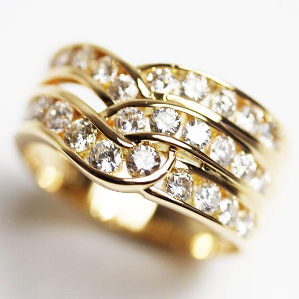 【MR2282】★K18 イエローゴールド ダイヤリングファッションリング 指輪 ダイヤ1.0ct 5.2gサイズ12号【中古】【あす楽】【質屋出品】